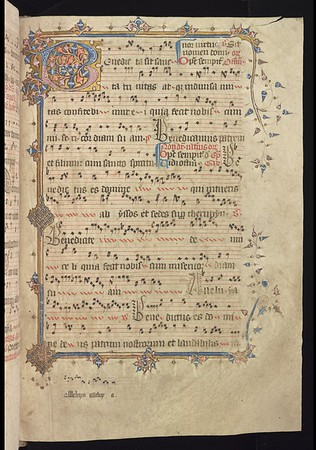 "This richly decorated page (fo. 118r) contains words and music for the feast of the Holy Trinity (the next day) beginning with the introit, <i>Benedicta sit</i>. Whereas in the foundation charter of King Henry VI reference is made to the honour of God, the Blessed Virgin Mary, St Margaret and St Bernard, in Queen Margaret's almost identical charter, the college is erected 'in nomine Sancte et Individue Trinitatis, Patris Filii et Spiritus Sancti, et gloriose virginis Marie sancteque Margarete et sancti Bernardi'. Her specific emphasis on God as Holy Trinity makes this opening particularly fitting as confirmation that this volume may indeed have been in use at pre-Reformation Queens'.<br><br> <b>Title:</b> <i>Gradual for the use of Sarum </i> (15th century) <br> <b>Shelfmark:</b> <a href=""https://cudl.lib.cam.ac.uk/view/MS-QUEENS-00028/1""> Queens' College MS 28</a>"