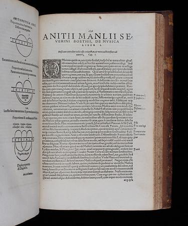 """<b>Author:</b> Boethius<br> <b>Title:</b><i> De Institutione Musica</i> in <i>Opera omnia </i> [Works] (Basel, 1570) <br> <b>Shelfmark:</b> <a href=""""http://idiscover.lib.cam.ac.uk/permalink/f/1nnjft8/44CAM_ALMA21392221580003606""""> F.1.24</a>"""