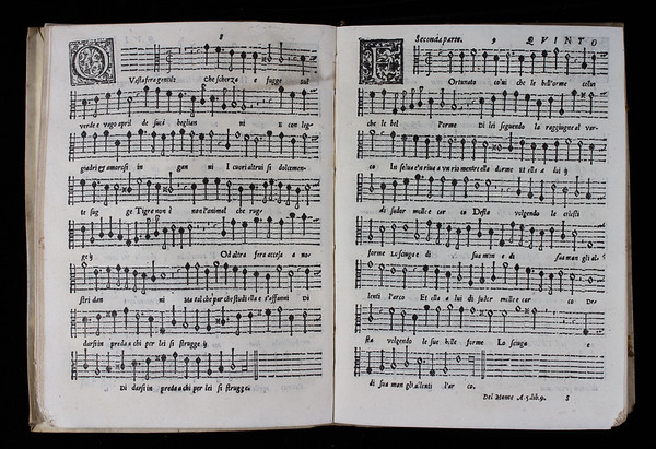 Quinto part of two madrigals by Philippe de Monte, 'Questa sera gentile' and 'Fortunato colui'.<br><br>  <b>Author:</b> Philippe de Monte<br> <b>Title:</b> <i>Il nono libro de madrigali a cinque voci</i> (Venice, 1580)  [in a bound volume of part books from eight of the composer's published collections of madrigals and sacred music]  [On loan from Paul Harcourt, library volunteer]