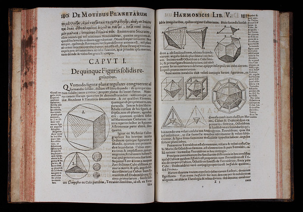"""The five platonic solids. <br><br> In 1596 Kepler had argued that these 'solid figures' could be inserted inside one another to form the distance relationships that separate the six planetary spheres (Mercury, Venus, Earth, Mars, Jupiter, Saturn). This idea played an essential part in his conception of celestial harmony. <br><br> <b>Author:</b> Johannes Kepler<br> <b>Title:</b><i> Harmonices mundi</i> [The harmony of the world] (Linz, 1619) <br> <b>Shelfmark:</b> <a href=""""http://idiscover.lib.cam.ac.uk/permalink/f/1nnjft8/44CAM_ALMA21553618360003606""""> D.1.35 </a> <br> <b>Provenance:</b> One of a set of Kepler volumes left to Queens' by John Smith"""