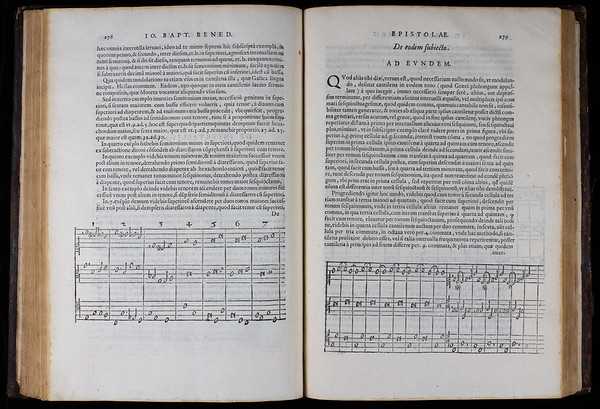 "Benedetti challenged orthodoxy further by means of the musical examples displayed here. Through them, he correctly argued that it was impossible for both the harmony and melody of a musical work to proceed according to intervals that are at all times both musically pure and mathematically perfect. The conflicts that always arise between melodic steps and harmonic intervals require musicians to make occasional adjustments to interval sizes. In contrast to those who expected musical art to conform to number, Benedetti realised that this was not always possible. <br><br> <b>Author:</b> Giovanni Battista Benedetti<br> <b>Title:</b><i> Diversarum speculationum mathematicarum, &amp; physicarum liber</i> [Book of various mathematical and physical ideas] (Turin, 1585) <br> <b>Shelfmark:</b> <a href=""http://idiscover.lib.cam.ac.uk/permalink/f/1nnjft8/44CAM_ALMA21397918030003606""> D.1.26</a> <br> <b>Provenance:</b> Gift of John St George, Queens' Fellow (1570s)"