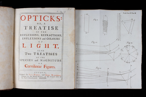 "An example of Newton's interest in the idea of music as an organising principle in nature can be found in his work of popular science, <i>Opticks</i> (1704). Curiosity as to relationships between light and musical sound had been aroused following Newton's claim (c.1672) that sunlight is a compound that separates into seven colours when refracted through a prism. The slightly later discovery by former Queens' member John Wallis (and others) that musical sound is a compound of harmonic pitches raised further questions. With these in mind, Newton proposed a mathematical correlation between the sines of the seven colours and the ratios between seven notes of the musical scale. Although ultimately spurious, the idea was seized on by philosophers and musicians eager to demonstrate the unity of nature and music's basis in it. <br><br> <b>Author:</b> Isaac Newton <br> <b>Title:</b><i> Opticks or, A treatise of the reflexions, refractions, inflexions and colours of light </i>(London, 1704) <br> <b>Shelfmark:</b> <a href=""https://idiscover.lib.cam.ac.uk/permalink/f/1nnjft8/44CAM_ALMA21606041340003606""> A.14.27</a> <br> <b>Provenance: </b> Formerly owned by Isaac Milner (1750–1820)"