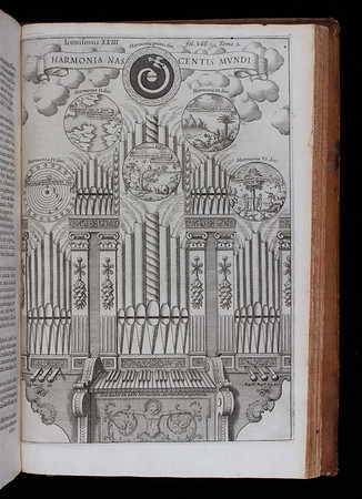 "Kircher's 'Harmony of the Birth of the World' represented in terms of a cosmic organ with six stops corresponding to the six days of creation. The Latin inscription under the keyboard reads: 'Thus plays the wisdom of the everlasting God in the earthly orb'.<br><br> <b>Author:</b> Athanasius Kircher<br> <b>Title:</b><i> Musurgia universalis  </i> [The complete science of music] (Rome, 1650) <br> <b>Shelfmark:</b> <a href=""http://idiscover.lib.cam.ac.uk/permalink/f/1nnjft8/44CAM_ALMA21586140680003606""> D.4.22</a>"