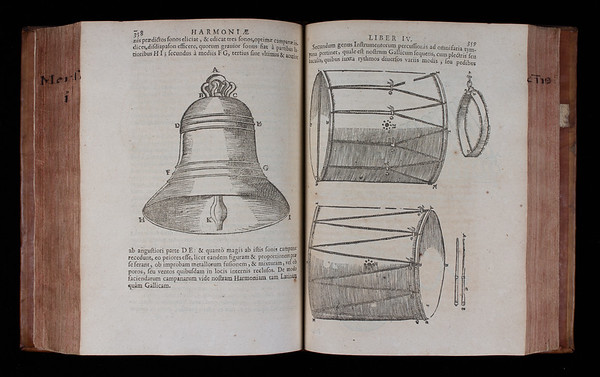 "A bell and tabor.<br><br> <b>Author:</b> Marin Mersenne<br> <b>Title:</b><i> Cogitata physico-mathematica  </i>[Physico-mathematical thoughts] (Paris, 1644) <br> <b>Shelfmark:</b> <a href=""http://idiscover.lib.cam.ac.uk/permalink/f/1nnjft8/44CAM_ALMA21573621010003606""> C.14.3</a>"