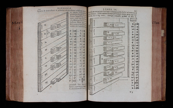 """'Is Music a science? Does it have evident, certain principles?' These were questions Mersenne had in mind when he became fascinated by instruments, tuning and temperaments. Mersenne prized music as an art reflective of mathematical perfection and divine order. Unfortunately, the twelve-note octave as played on organ and harpsichord keyboards was (and is) not consistent with that ideal. No matter how it is tuned, it is impossible for more than a few of the degrees of the scale to act as the bass for harmonies that are pure and mathematically correct. For Mersenne this was not simply a musical problem, but also a philosophical one that required debate and research.  One solution to the tuning problem, shown here, was to design keyboards with more than twelve notes per octave. By adding extra notes the number of playable keys and harmonies would be increased. Another way, known as ¼ meantone temperament, is described a few pages earlier. This was achieved by tempering (or adjusting) the intervals of the twelve-note scale so that the most used keys would sound (and be) almost perfectly in tune, with the imperfections distributed amongst less used keys.  <br><br> <b>Author:</b> Marin Mersenne<br> <b>Title:</b><i> Cogitata physico-mathematica  </i>[Physico-mathematical thoughts] (Paris, 1644) <br> <b>Shelfmark:</b> <a href=""""http://idiscover.lib.cam.ac.uk/permalink/f/1nnjft8/44CAM_ALMA21573621010003606""""> C.14.3</a>"""