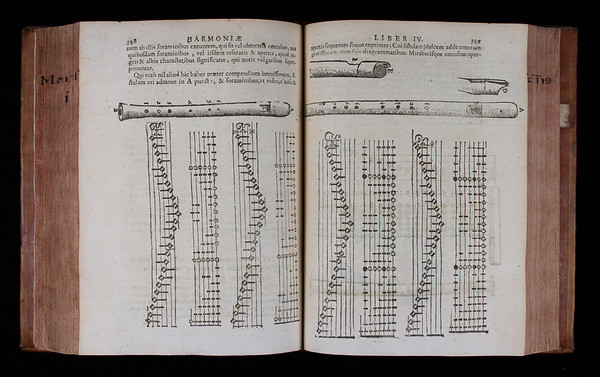 """Mersenne's many descriptions of musical instruments here and elsewhere provide detailed and invaluable insights into this aspect of seventeenth-century music. Influenced by his interest in the then emerging science of acoustics, the inclusion of instruments in this scientific work reflects Mersenne's conception of them as a new means through which to explore the principles underlying music. Here we see an illustration of a recorder together with accompanying music and tablature (a form of music notation). <br><br> <b>Author:</b> Marin Mersenne<br> <b>Title:</b><i> Cogitata physico-mathematica  </i>[Physico-mathematical thoughts] (Paris, 1644) <br> <b>Shelfmark:</b> <a href=""""http://idiscover.lib.cam.ac.uk/permalink/f/1nnjft8/44CAM_ALMA21573621010003606""""> C.14.3</a>"""
