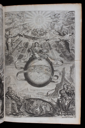 "Sometimes referred to as 'the last Renaissance man', the German Jesuit Athanasius Kircher extended the boundaries of knowledge through his researches into a diverse range of subjects. His encyclopaedic <i>Musurgia universalis</i> presents music as a reflection of the divine cosmos but assimilates into this scholastic view elements of natural magic and experimental science. For Kircher the harmonic universe comprised a network of unseen correspondences linking different parts of the natural world. By decoding symbols and allegories to be found in ancient texts and nature, man could gain a deeper understanding of God's creation. The areas Kircher covers include sound and voice as found in nature, acoustical science, and the 'magic' of consonance and dissonance. His discussion of the origins of human music in Greece and Egypt leads to a comparison of ancient and modern music together with explanations for the different effects music can have on listeners. The final chapter portrays the Creation of the world in terms of a pipe organ. <br><br> Kircher's illustrated title-page incorporates Catholic doctrine into a cosmic scheme that focuses on the Trinity in the form of a triangle. Nine choirs of angels sing a complex part song in thirty-six parts. Through the art of part song (polyphony) man imitates cosmic harmony. <br><br> <b>Author:</b> Athanasius Kircher<br> <b>Title:</b><i> Musurgia universalis  </i> [The complete science of music] (Rome, 1650) <br> <b>Shelfmark:</b> <a href=""http://idiscover.lib.cam.ac.uk/permalink/f/1nnjft8/44CAM_ALMA21586140680003606""> D.4.22</a>"