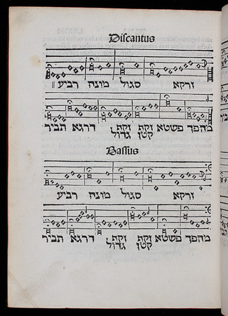"The final nine pages of Reuchlin's treatise on Hebrew accentuation and spelling contain a Hebrew text and chant set for four voices in the style of Christian music of the period (the musical notation runs backwards together with the Hebrew from right to left). Reuchlin's careful use of fermata signs bring out the meaning of the text. <br><br> <b>Author:</b> Johann Reuchlin<br> <b>Title:</b><i> De accentibus et orthographia linguae Hebraicae </i> [On the accentuation and spelling of Hebrew] (Haguenau, 1618) <br> <b>Shelfmark:</b> <a href=""http://idiscover.lib.cam.ac.uk/permalink/f/1nnjft8/44CAM_ALMA21586141880003606""> K.14.13</a><br> <b>Provenance:</b> Formerly owned by N. Cartwright"