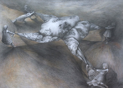 Yim Maline, Competition; Graphite on paper; 44 x 32 in.; 2012
