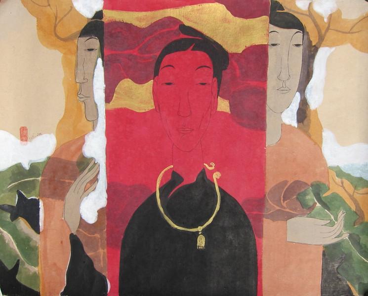 Vu Thu Hien, Spirit Forest; Watercolour on Dzo paper; 32 x 24 in.