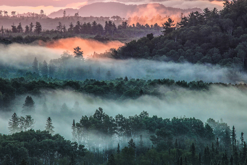 """FRIDAY, MAY 31, 2013<br /> <br /> FOREST 1294<br /> <br /> """"First Light, Foggy Morning - Pigeon River Valley""""<br /> <br /> This photo was made after a night of photographing the northern lights along the Arrowhead Trail in northeast Minnesota. As I drove home via the back roads I noticed that there was quite a bit of fog in the Pigeon River valley below me. I pulled over at the Pigeon River Helipad Overlook along Otter Lake Road and waited for the sun to come up. I knew that once the sunlight started to hit the fog it would be an incredible view. Sure enough, as the fog started to glow from the light of the rising sun I was awestruck by the beauty and depth of the scene laid out before me. <br /> <br /> Camera: Canon EOS 5D Mark II<br /> Lens: Canon EF 100-400mm<br /> Focal length: 400mm<br /> Shutter speed: 1/20<br /> Aperture: f16<br /> ISO: 400"""