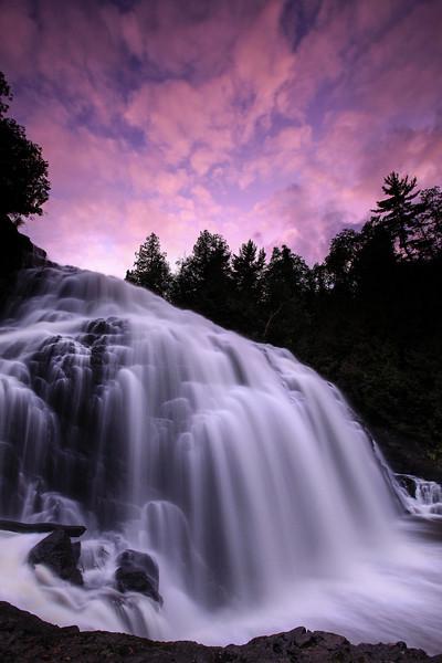 "THURSDAY, SEPTEMBER 17, 2009<br /> <br /> PIGEON RIVER 6270<br /> <br /> ""September Sunset, Partridge Falls""<br /> <br /> Camera: Canon EOS 5D Mark II<br /> Lens: Canon EF 17-40mm<br /> Focal length: 17mm<br /> Shutter speed: 2 seconds<br /> Aperture: f8.0<br /> ISO: 400"