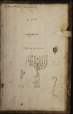 A drawing of a menorah