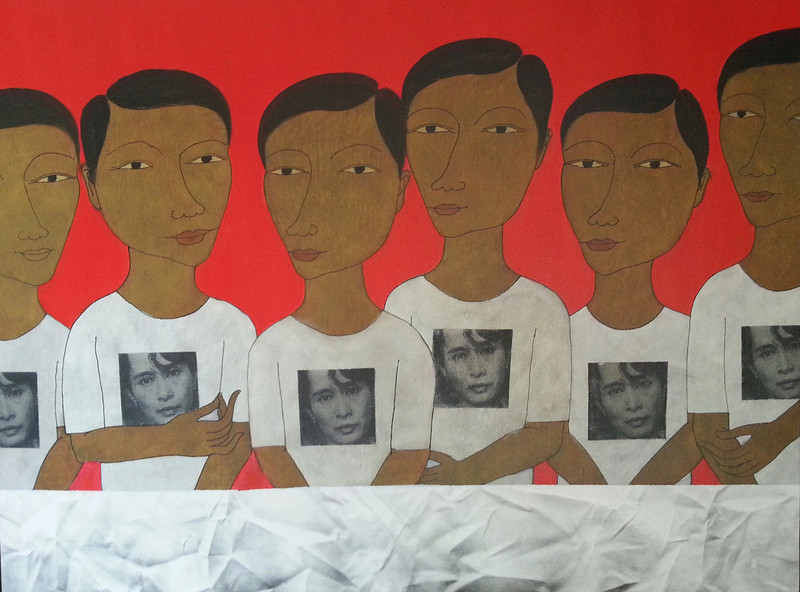 Min Zaw, Ordinary People #9, Acrylic on Canvas, 2014. 50 X 36 in.