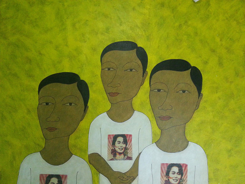 Min Zaw, Ordinary People #12, Acrylic on Canvas, 2014. 50 X 36 in.