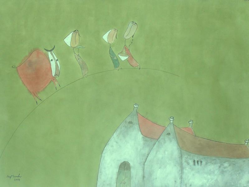 Nguyen Quang Minh, Returning Home, Watercolour, 2014