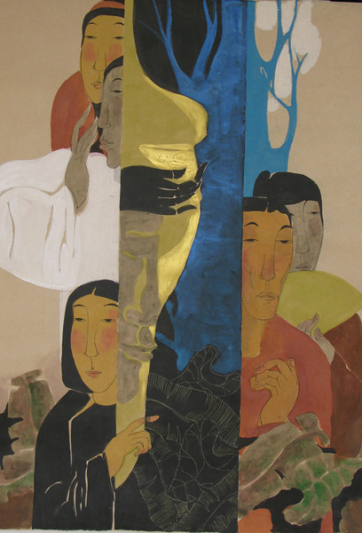 Vu Thu Hien, Contentment, 80 x110cm, Watercolour on Dzo paper