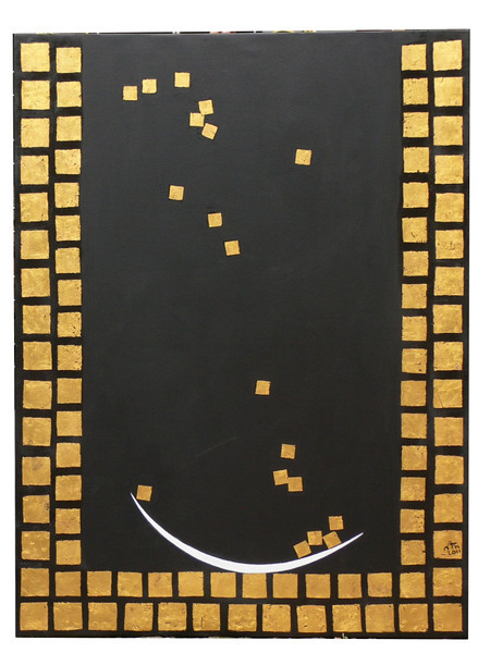 Nann Nann, Well of Merit (2), 2011. Gold leaf and acrylic on canvas, 36 x 48 in.