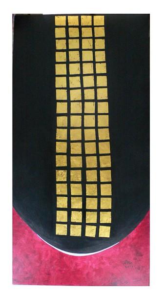 Nann Nann, Peaceful (2), gold leaf and acrylic on canvas, 24 X 48 in.