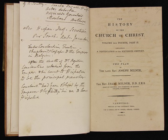 Joseph and Isaac Milner, The History of the Church of Christ (London, 1803–9) vols. 4 pt 2. With Isaac Milner's annotated corrections.