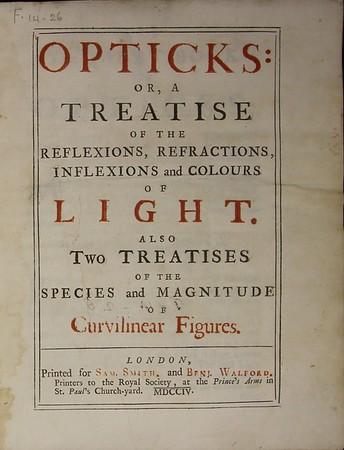 Isaac Newton, Opticks (London, 1704)