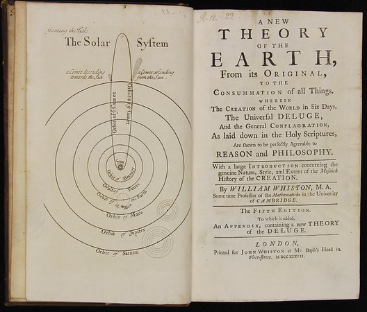 William Whiston, New Theory of the Earth (London, 1737 (first published in 1696). Formerly owned by Isaac Milner.