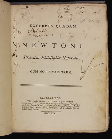 Robert Thorp, Excerpta Quaedam e Newtoni Principiis Philosophiae Naturalis (Cambridge, 1765). Formerly owned by Isaac Milner.
