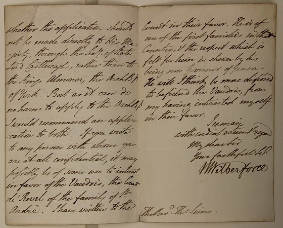 Queens' MS 61. Letters from William Wilberforce concerning the Valdour community, continued.