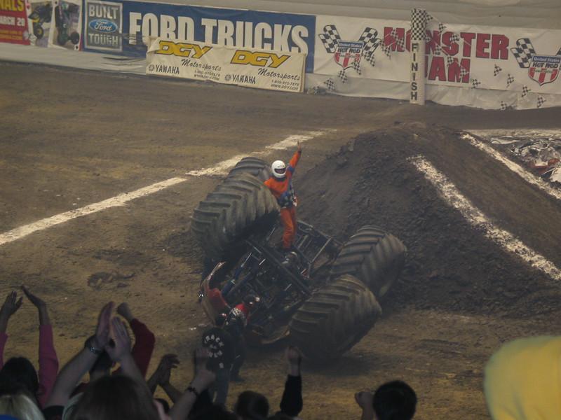 Flipped over monster truck