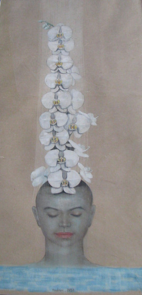 Nguyen Minh Thanh, White Orchid, 2010. Water colour on Dzo paper, 26 X 46 in.