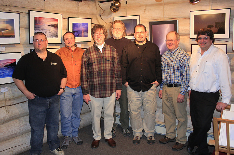 Here's the group of photographers from the North Shore Photography show taken at the opening reception. <br /> <br /> From left to right: Jon Wood, Bryan Hansel, Don Davison, Roger Nordstrom, Travis Novitsky, Paul Sundberg, Bruce Johnson.
