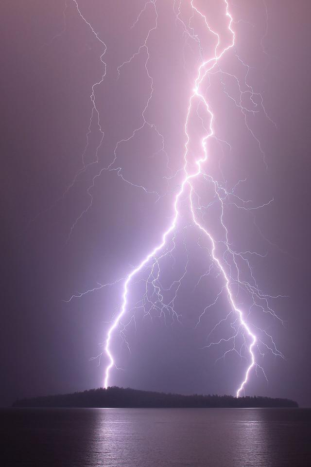 "LIGHTNING 2655<br /> <br /> ""The Destroyer""<br /> <br /> Intense, powerful lightning strikes over Pete's Island on Grand Portage Bay - June 18, 2009"