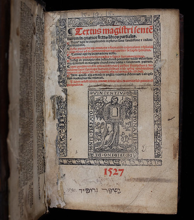 "<b>Author:</b> Peter Lombard<br> <b>Title:</b><i> Textus magistri sententiarum in quatuor sectus libros partiales</i> (Lyon, 1527)<br> <b>Shelfmark:</b> K.19.15 <a href=""http://idiscover.lib.cam.ac.uk/primo-explore/fulldisplay?docid=44CAM_ALMA21408614750003606&amp;context=L&amp;vid=44CAM_PROD&amp;search_scope=SCOP_QUE&amp;tab=cam_lib_coll&amp;lang=en_US""> (catalogue record)</a>"