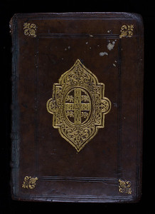 In the 1540s, the trend for gilt stamps grew in Cambridge, with Oxford and London following soon after. A binder would place gold leaf between the heated stamp and the binding, and press it into the leather.  The Crown granted the University of Cambridge its coat of arms in 1573. It consists of a cross of ermine, a book in its centre, between four lions. It is likely that Thomas Thomas, the first University Printer in Cambridge, commissioned this centrepiece in the 1580s. This suggests that the book was rebound several decades after it was first printed, perhaps after a change of ownership.   Author: Ptolemy  Title: Geographia  Cl. Ptolemaei Alexandrini [The geography of Ptolemy] (Venice, 1562) Shelfmark: F.20.1   (catalogue record)