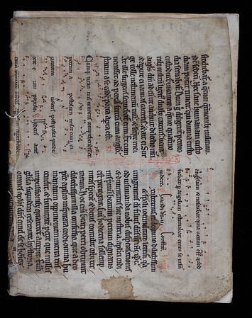 Recycled vellum wrappings were affordable alternatives to leather bindings. This manuscript leaf comes from the Sarum Rite, a fourteenth-century breviary that fell out of use after the introduction of the Book of Common Prayer in the mid-sixteenth century. This may explain why the leaf was recycled as a temporary wrapper in the seventeenth century. It has been tacketed (loosely stitched to the text block), and is too small to cover the leaves of the book entirely; clearly it was not intended as a permanent binding. However, it appears to have been applied with an appreciation for its beauty, which may explain why it was never replaced. [Front cover]    Author: Jacques Michelet  Title: Discours de geographie contenant les principales pratiques pour les descriptions de la Terre, et de la mer [A geographical discourse, containing practical principles for describing the Earth and sea]  (Paris, 1615) Shelfmark: D.20.21   (catalogue record)