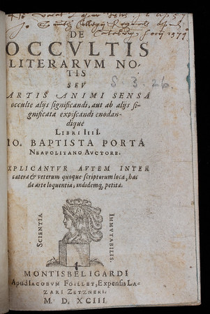 "<b>Author:</b> Giambattista della Porta <br> <b>Title:</b><i> De occultis literarum  </i> [On the concealment of letters]  (Montbeliard, 1593)<br> <b>Shelfmark:</b> S.3.26 <a href=""http://idiscover.lib.cam.ac.uk/primo-explore/fulldisplay?docid=44CAM_ALMA21413388950003606&amp;context=L&amp;vid=44CAM_PROD&amp;search_scope=SCOP_QUE&amp;tab=cam_lib_coll&amp;lang=en_US""> (catalogue record)</a>"
