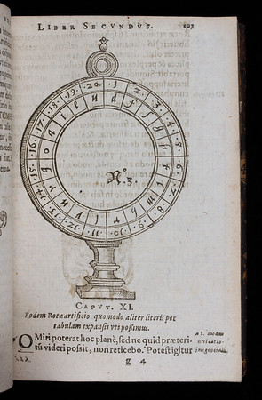 "[One of two pages shown - the cipher wheel] <br><br> <b>Author:</b> Giambattista della Porta <br> <b>Title:</b><i> De occultis literarum  </i> [On the concealment of letters]  (Montbeliard, 1593)<br> <b>Shelfmark:</b> S.3.26 <a href=""http://idiscover.lib.cam.ac.uk/primo-explore/fulldisplay?docid=44CAM_ALMA21413388950003606&amp;context=L&amp;vid=44CAM_PROD&amp;search_scope=SCOP_QUE&amp;tab=cam_lib_coll&amp;lang=en_US""> (catalogue record)</a>"