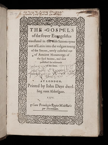 Translation is an act of decoding that can be highly politicised. This book contains the Gospels with parallel text in Anglo-Saxon and English. In his foreword, John Foxe describes the translation of the Bible from Latin to English as a return to the 'pristine state of olde conformitie'. He offers this book as proof that revered Christians of antiquity read the Bible in the vernacular. A Renaissance reader appears to have used the book to create a cipher where Anglo-Saxon characters, medieval number forms and invented symbols replace letters. Words that appear similar to 'Saxon' and 'gloss' can be made out.    Title: The Gospels of the fower Evangelistes translated in the olde Saxons tyme out of Latin into the vulgare toung of the Saxons (London, 1571) Shelfmark: D.19.2 (catalogue record)