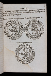 In this book on ciphers Porta, a popular Italian writer, describes Cardano's most enduring invention, the Cardan grille. By placing the grille over paper and writing through the holes, then filling the spaces with meaningless or misleading text, the writer could hide the fact that a secret message even existed, a method called steganography. These leaves also contain the materials to construct the most famous piece of espionage equipment from the Renaissance – the cipher wheel. The cryptographer turned the inner disc at intervals to generate an unpredictable cipher, and the recipient, provided they knew the encoder's 'key', used their identical cipher wheel to decipher the message. That both key and wheel were required to crack the code made it an extremely secure form of cryptography. On the innermost disc, shown here, the hand of God points to the truth. [One of two pages shown]  Author: Giambattista della Porta  Title: De occultis literarum   [On the concealment of letters]  (Montbeliard, 1593) Shelfmark: S.3.26  (catalogue record)