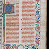 "One of Queens' oldest printed books, this copy of the Roman Pontifical (a Catholic episcopal book of liturgy) was produced in the printing workshop of Stephan Plannck in Rome in 1485. Like many theological texts of the period, it was printed in black and red with music notation using square notes.  The volume illustrates the slow shift from manuscript to print through the presence of illuminations – a traditional decorative feature of manuscripts. The illumination takes the form of an initial 'P' on a gold background with painted acanthus flowers, accompanied by a border incorporating painted foliate motifs and a green wreath with unidentified inscribed initials. Such illuminations were produced outside of the printer's workshop by artists, some of them from the manuscript trade. Probably completed in around 1500, the style of decoration in this incunable suggests that the work was carried out in northeast Italy.  <br><br> <b>Author:</b> Catholic Church<br> <b>Title:</b><i> Pontificale Romanum</i> (Rome, 1485)<br> <b>Shelfmark:</b> U.1.4  <a href=""http://idiscover.lib.cam.ac.uk/primo-explore/fulldisplay?docid=44CAM_ALMA21417655500003606&amp;context=L&amp;vid=44CAM_PROD&amp;search_scope=SCOP_QUE&amp;tab=cam_lib_coll&amp;lang=en_US""> (catalogue record)</a>"