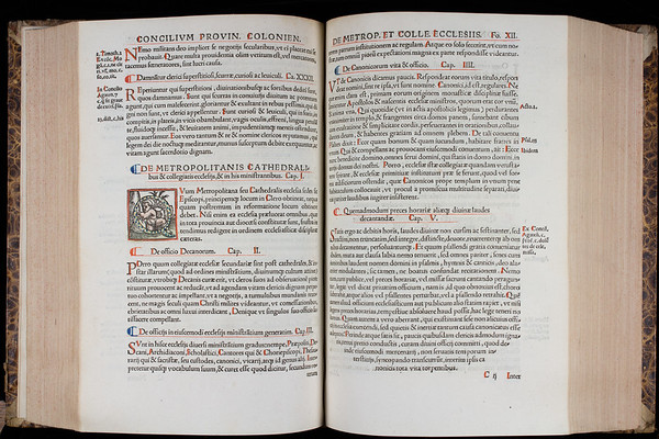 "<b>Author:</b> Catholic Church<br> <b>Title:</b><i> Canones Concilii Provincialis Coloniensis</i> (Cologne, 1538)<br> <b>Shelfmark:</b> F.3.21(2)  <a href=""http://idiscover.lib.cam.ac.uk/primo-explore/fulldisplay?docid=44CAM_ALMA21423015570003606&amp;context=L&amp;vid=44CAM_PROD&amp;search_scope=SCOP_QUE&amp;tab=cam_lib_coll&amp;lang=en_US""> (catalogue record)</a>"