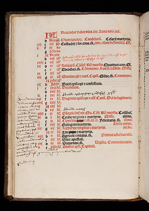 In this missal, an edition produced for the monks of the Carthusian Order, references to the Pope have been obscured with ink. By contrast, in the sixteenth century some saints' days were added to the liturgical calendar by hand, as well as prayers for Thomas Becket. The book's owner has added a marginal note to record Mary Tudor's death, and the death mere hours later of the last Catholic Archbishop of Canterbury. Judging from his or her annotations, the book's owner may have been a Catholic who practised their faith during Mary's Catholic reign.  The note reads 'Anno domini 1558 Maria anglie regina obijt mortem xvijo die nove[m]bris circa horam sextam ante meridiem eodem quoq[ue] die circa horam septimam post meridiem Reginaldus Pole cardinalus a latere atque archiep[iscop]us cantuarien[sis] mortus est quorum a[n]i[m]abus propitietur deus.'  (In the year of our Lord 1558, Mary Queen of England died on 17 November at around six hours before midday. The same day at around seven hours after midday Reginald Pole, cardinal and Archbishop of Canterbury, also died. [on whose souls may God show mercy?])   Author: Catholic Church  Title: Missale secundum ordinem Carhusiensium [Missal of the Carthusian Order] (Lyon, 1517) Shelfmark: G.2.1   (catalogue record)