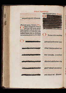 Passage of Catholic liturgy obscured with black ink.  Author: Catholic Church  Title: Missale secundum ordinem Carhusiensium [Missal of the Carthusian Order] (Lyon, 1517) Shelfmark: G.2.1   (catalogue record)