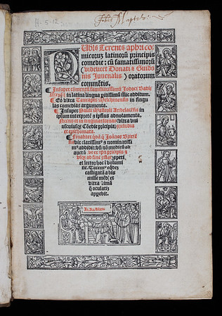 "Although this title page is framed with a woodcut border composed of religious vignettes, the work itself is an edition of the Roman playwright Terence's Comedies. Indeed, the book's printer, Jean de la Place, used the same borders in his theological printings, but here they are deployed in a clumsy way – the vignettes are not properly aligned and vertical rolls are used horizontally. The volume bears the signature of two previous owners: one is indicated in the inscription here as being Johannes Martelo. <br><br> <b>Author:</b> Terence<br> <b>Title:</b><i> Publij Terentij Aphri comicorum latinorum principis Comediae</i> (Lyon, 1520)<br> <b>Shelfmark:</b> H.5.12<a href=""https://idiscover.lib.cam.ac.uk/primo-explore/fulldisplay?docid=44CAM_ALMA21420890250003606&amp;context=L&amp;vid=44CAM_PROD&amp;search_scope=SCOP_QUE&amp;tab=cam_lib_coll&amp;lang=en_US""> (catalogue record)</a>"
