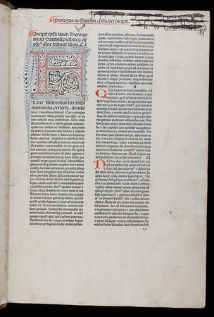 """Although printed in Naples in 1476, we can be sure that this Bible arrived in England only a few years later on account of the presence in it of decorated initials (with dentate pen-flourishing) in a style typical of English artists at that time. That this copy was in the possession of English owners is evident in a heavily inked-out but still visible inscription of the name of a Norfolk family, 'popye', to be seen here in the right hand leaf on display. A further note at the end of the book reveals that the copy was once owned by Dorothy Cowper, widow of William Cowper Esquire who owned land in Lincolnshire and south Buckinghamshire. She later married the Cambridge lawyer George Freville who not only became owner of the lands her first husband bequeathed to her, but also of this Bible as asserted by him in this note.  <br><br> <b>Title:</b><i> Biblia Latina</i> (Naples, 1476)<br> <b>Shelfmark:</b> C.4.11  <a href=""""http://idiscover.lib.cam.ac.uk/primo-explore/fulldisplay?docid=44CAM_ALMA21422911300003606&amp;context=L&amp;vid=44CAM_PROD&amp;search_scope=SCOP_QUE&amp;tab=cam_lib_coll&amp;lang=en_US""""> (catalogue record)</a>"""