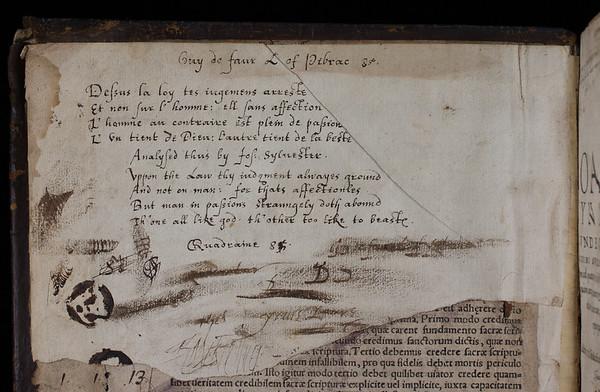 "(Detail of the quatrains)    <br><br> <b>Author:</b> Joachim Mynsinger von Frundeck <br> <b>Title:</b><i> Apotelesma, sive Corpus perfectum scholiorum ad quatuor libros institutionem juris civilis </i> [Exposition, or the perfect corpus for scholars on the four books of the institutions of civil law] (Basel, 1563)<br> <b>Shelfmark:</b> C.5.4  <a href=""http://idiscover.lib.cam.ac.uk/primo-explore/fulldisplay?docid=44CAM_ALMA21413502970003606&amp;context=L&amp;vid=44CAM_PROD&amp;search_scope=SCOP_QUE&amp;tab=cam_lib_coll&amp;lang=en_US""> (catalogue record)</a>"