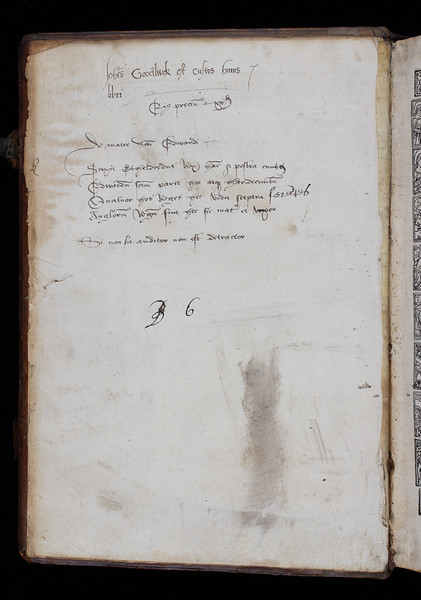 The volume bears the signature of two previous owners: on this page we see that of Johannes Goodluck,  'Joh[ann]es Goodluck est custos huius libri' ('the keeper of this book'). Below this inscription, another hand has added a price and a very interesting poem in Latin entitled 'De matre sua Edwardi' ('On Edward's mother'). The following verses are indeed the epitaph of Queen Emma of Normandy (d. 1054), mother of Edward the Confessor. In early modern England, as well as providing material evidence for historians, epitaphs such as this bore devotional value as a means to relate to the dead.    'Duxit Ethelredus __ ha[n]c, & postea Knutus. Edwardum s[an]ct[u]m parit hoc atque Hardecanutu[m]. Quator hoc reges hec vidit sceptra fere[n]tes. Angloru[m] regu[m] suit hec sic mater et uxor.'  ('She was first married to King Ethelred, and afterwards to King Canute. To the former she bore Edward, to the latter Hardincanute. She saw all these four kings wielding the royal sceptre; and thus was the wife and mother of English kings.'  Translation from John Milner, The History Civil and Ecclesiastical, & Suruey of the Antiquities, Winchester, 1809.)  'Si non sit auditor non est detractor.'  ('If one is not a listener, one is not a detractor.' Saint Thomas Aquinas, Exposition of the Psalms of David, Psalm 14.    Author: Terence Title: Publij Terentij Aphri comicorum latinorum principis Comediae (Lyon, 1520) Shelfmark: H.5.12 (catalogue record)