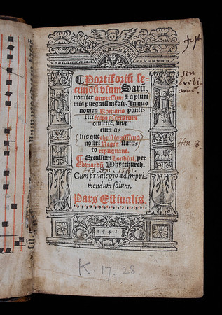 "This was the first breviary produced without references to the authority of Rome, and has been called the 'original liturgical book of English rite'. However, like the old Catholic breviaries, it was written in Latin and followed their same structure of worship. As in other dashed books, references to the martyr Thomas Becket have been removed. Becket was the first target of Henry's iconoclasm; in 1538 the King ordered that Becket's tomb be destroyed and his bones burned. <br><br> Church of England <b>Title:</b><i> Portiforium secundum usum Sarum </i> [Portable breviary according to the Sarum rite] (London, 1541)<br> <b>Shelfmark:</b> K.17.28  <a href=""http://idiscover.lib.cam.ac.uk/primo-explore/fulldisplay?docid=44CAM_ALMA21407528810003606&amp;context=L&amp;vid=44CAM_PROD&amp;search_scope=SCOP_QUE&amp;tab=cam_lib_coll&amp;lang=en_US""> (catalogue record)</a>"