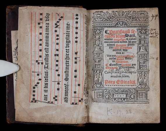 """This was the first breviary produced without references to the authority of Rome, and has been called """"original liturgical book of English rite"""". However, like the old Catholic breviaries, it was written in Latin and followed their same structure of worship. As in other dashed books, references to the martyr Thomas Becket have been removed. Becket was the first target of Henry's iconoclasm; in 1538 the King ordered that Becket's tomb be destroyed and his bones burned. <br><br> <b>Title:</b><i> Portiforium secundum usum Sarum</i> (London, 1541)<br> <b>Shelfmark:</b> K.17.28  <a href=""""http://idiscover.lib.cam.ac.uk/primo-explore/fulldisplay?docid=44CAM_ALMA21407528810003606&amp;context=L&amp;vid=44CAM_PROD&amp;search_scope=SCOP_QUE&amp;tab=cam_lib_coll&amp;lang=en_US""""> (catalogue record)</a>"""