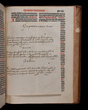 "A paper slip with prayers bound in the volume. <br><br> <b>Author:</b> Catholic Church<br> <b>Title:</b> <i>Missale ad vsum ecclesie Sarisburiensis</i> [ Salisbury missal] (Paris, 1529)<br> <b>Shelfmark:</b> H.6.24<a href=""https://idiscover.lib.cam.ac.uk/primo-explore/fulldisplay?docid=44CAM_ALMA21420881150003606&amp;context=L&amp;vid=44CAM_PROD&amp;search_scope=SCOP_QUE&amp;tab=cam_lib_coll&amp;lang=en_US""> (catalogue record)</a>"